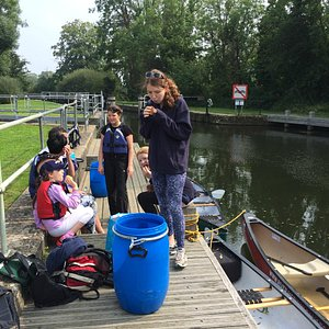 At one of the locks before we went down the slide!
