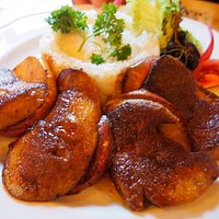 Grilled goose liver with steamed apple and rice