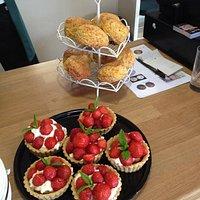 Fresh Cheese Scones and Strawberry Tarts