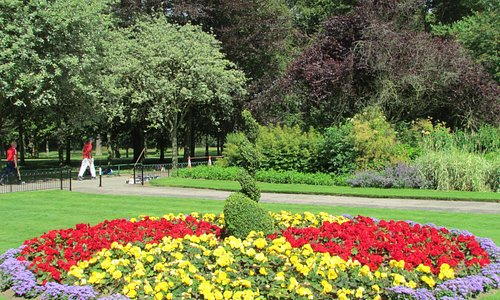 Colorful island of plant in the formal garden