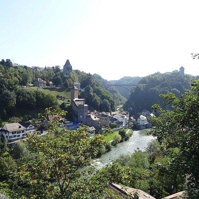 Fribourg Aufnahme von der Zähringerbrücke