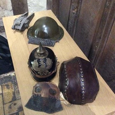 World War I helmet displays.