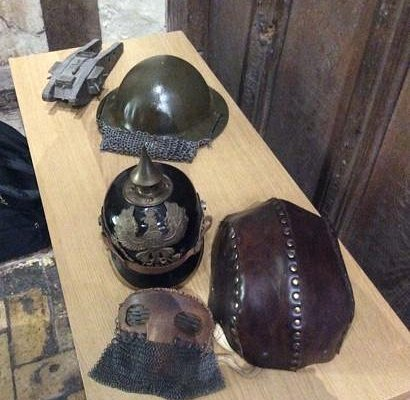 World War I helmet displays.