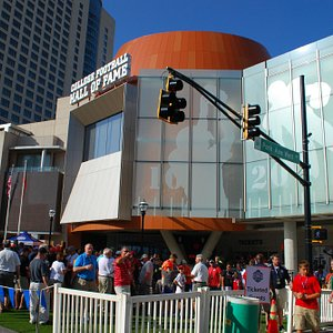 Fans gathering outside of the College Football Hall of Fame