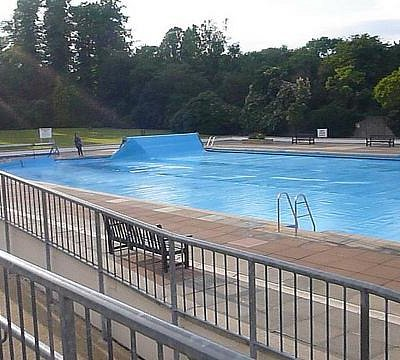 Letchworth Outdoor pool being covered