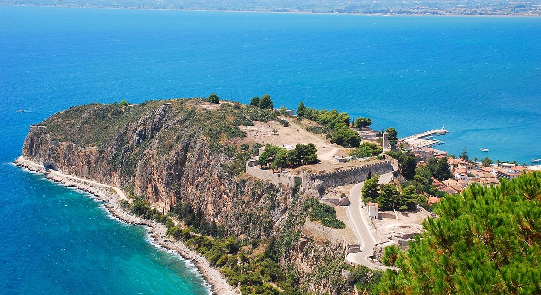 The cape where old Nafplio city is located - right side of it, on top of the hill - Acronafplio