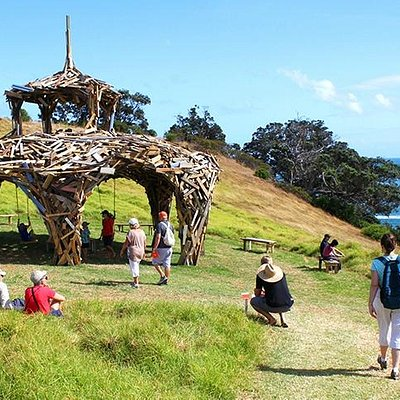 Walking through the art at Headland Sculpture on the Gulf on New Zealand's Waiheke Island