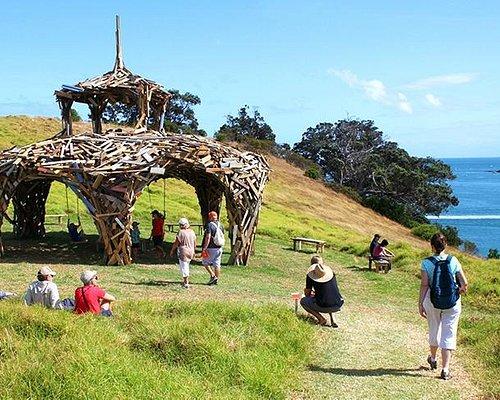 Walking through the art at Headland Sculpture on the Gulf on New Zealand's Waiheke Island