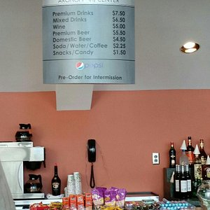 Concession prices. Bottled water is best value versus other drinks.