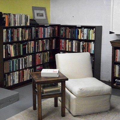 Basement reading space.