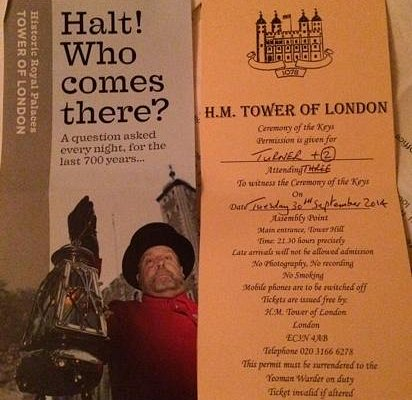 brochure and ticket