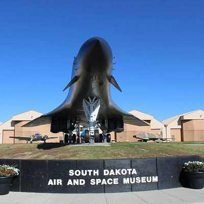 B-1B Lancer bomber on display in front of the South Dakota Air and Space Museum