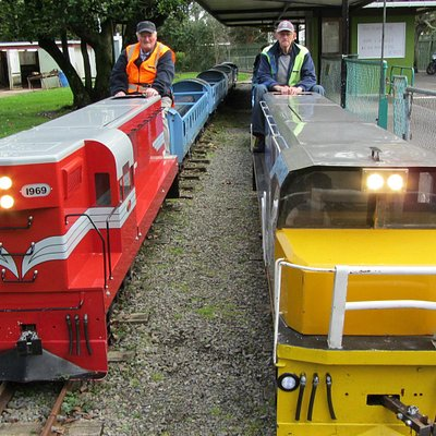 Two of the locos used at the Esplanade scenic Railway