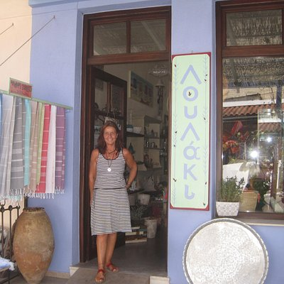 "Claudia Tobias in front of her ""LOULAKI"" Store"