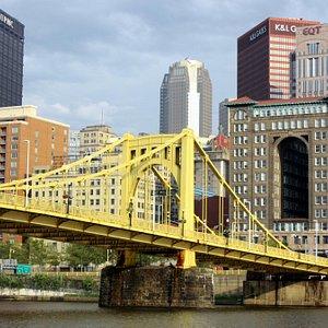 Warhol bridge against beautiful city backdrop
