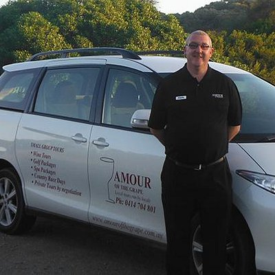 Owner Paul Gough with the Amour Of The Grape vehicle