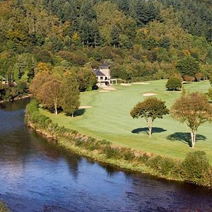 18th Hole Par 5, Tee shot is over the Avoca river.