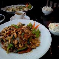 Cashew nut chicken in front