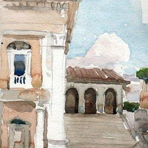 Kelly's watercolor sketch of Campidoglio