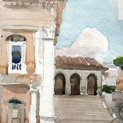 Kelly's watercolor sketch of Campidoglio