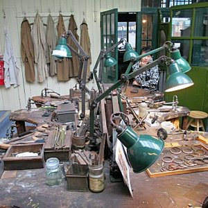 Work benches in the museum workshop