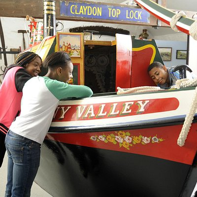 The boat cabin of Sunny Valley upstairs at the Canal Museum, Stoke Bruerne