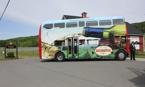 Wolfville Magic Winery Bus in the centre of Nova Scotia Wine Country