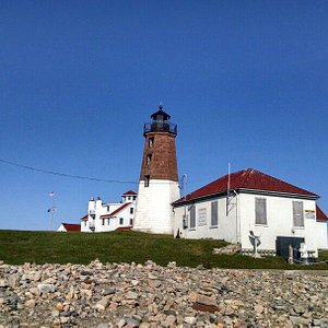 View of the lighthouse from the shore.