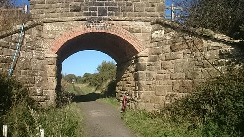 A road bridge over the old rail line (The Cinder Track)