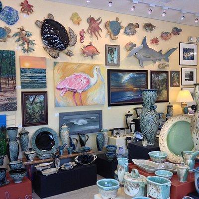 Inside the Dunedin art gallery.