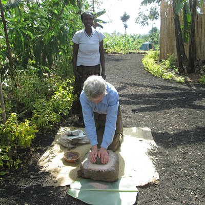 Stone grinding millet at Red Rocks camping Grounds