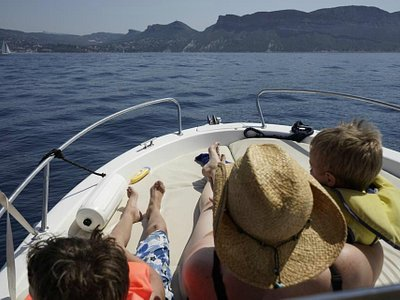 Enjoying the view from the bow of our skippered boat!
