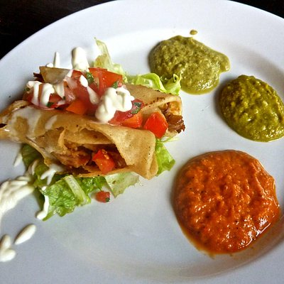 local Nicaragua taco and THREE dipping sauces from Pueblo Cocina Mexicana