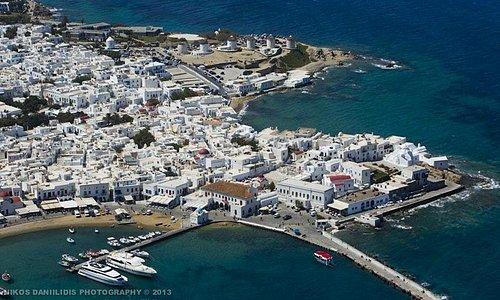 Mykonos island from above