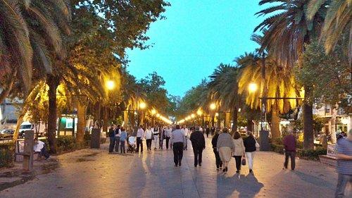 Vista nocturna del Paseo, con afluencia de paseantes