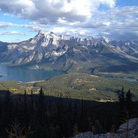 View of Lake Minnewanka & Two Jack Lake from the top