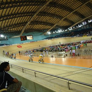 The cycling competition in progress.