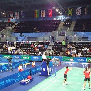 A badminton match in progress.