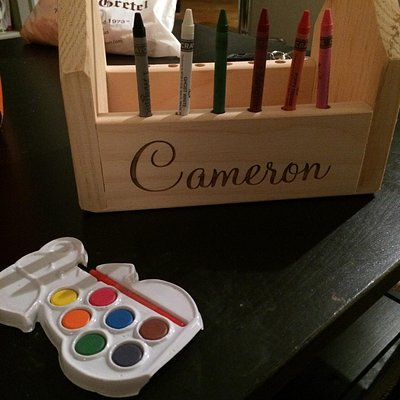 Crayon/Marker box for my niece. The best part is it can be personalized and she can paint it her