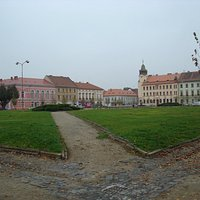 Terezin main square as it is today, still a bleak place although inhabited