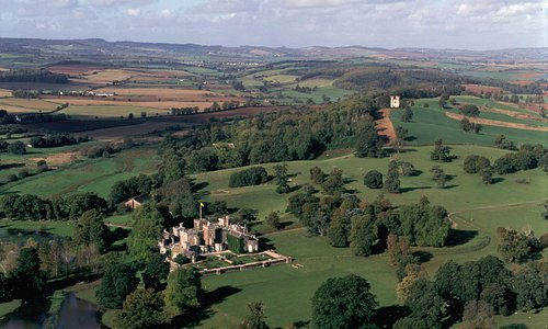 Aerial view of Powderham Castle and Estate