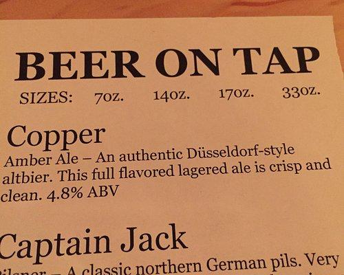 Partial beer menu