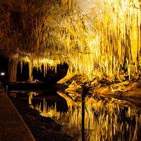 Lake cave reflections