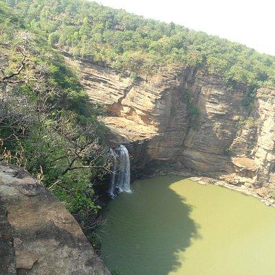 the Devdari falls and rugged terrain