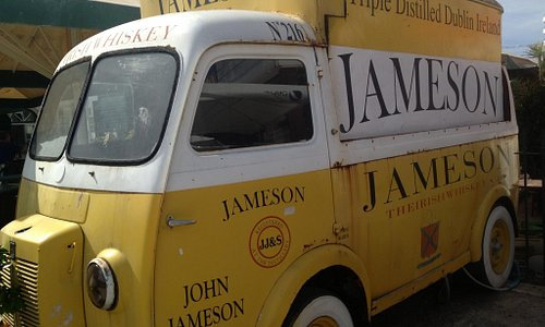 Old Jameson truck by the outside deck