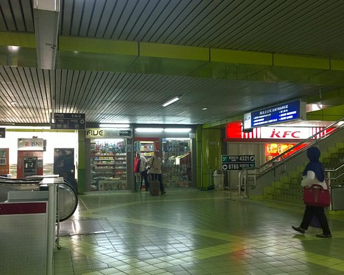 Spacious interiors lined with shops