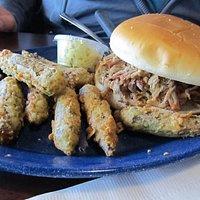 BBQ Sandwich with fried okra