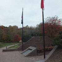 Flags over the memorial