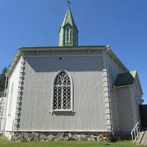 Reposaari Church is hexagonal wooden church