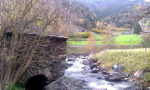 Вид на лесопилку и реку снаружи
